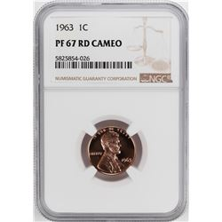 1963 Proof Lincoln Memorial Cent Coin NGC PF67RD Cameo