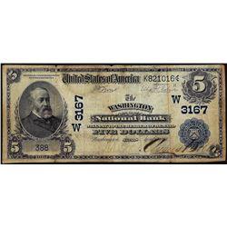 1902 Date Back $5 Washington NB Washington, Kansas CH# 3167 National Currency Note