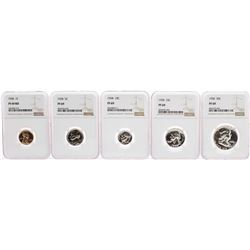 1958 (5) Coin Proof Set Graded NGC PF69