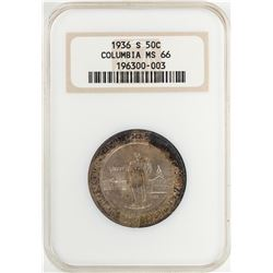 1936-S Columbia Sesquicentennial Commemorative Half Dollar Coin NGC MS66