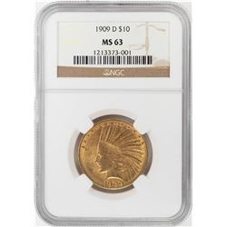 1909-D $10 Indian Head Eagle Gold Coin NGC MS63