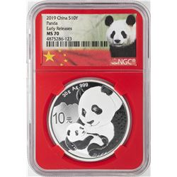 2019 China 10 Yuan Panda Silver Coin NGC MS70 Early Releases Red Core