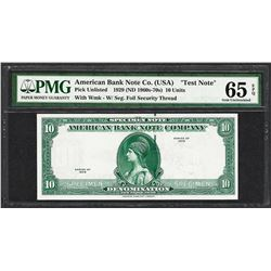 "1929 10 Unit American Bank Note Co. ""Test Note"" PMG Gem Uncirculated 65EPQ"
