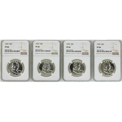 Lot of (4) 1959 Proof Franklin Half Dollar Coins NGC PF66
