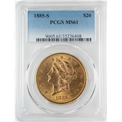 1885-S $20 Liberty Head Double Eagle Gold Coin PCGS MS61