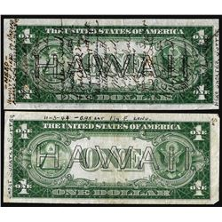 Lot of (2) Short Snorter 1935A $1 Hawaii WWI Emergency Issue Silver Certificate Notes
