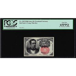 1874 Ten Cents Fifth Issue Fractional Currency Note Fr.1265 PCGS Gem New 65PPQ