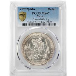 1962 Mo Mexico Heroica Batalla Del 5 De Mayo 1862 Silver Medal PCGS MS67