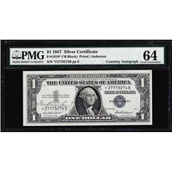 1957 $1 Silver Certificate STAR Note PMG Choice Uncirculated 64EPQ Courtesy Autograph