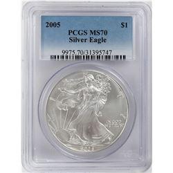 2005 $1 American Silver Eagle Coin PCGS MS70