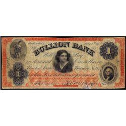 July 4, 1862 $1 Bullion Bank Washington, DC Obsolete Banknote