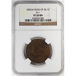 1839/6 Coronet Head of 36 Large Cent Coin NGC VF20 BN