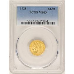 1928 $2 1/2 Indian Head Quarter Eagle Gold Coin PCGS MS63