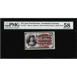 March 3, 1862 10 Cents Fourth Issue Fractional Note Fr.1257 PMG Choice About Unc 58
