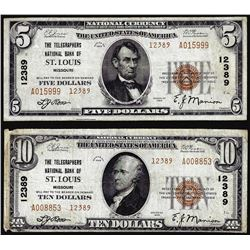 Set of 1929 $5/$10 St. Louis, MO CH# 12389 National Currency Notes