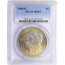 1904-O $1 Morgan Silver Dollar Coin PCGS MS63 Amazing Toning