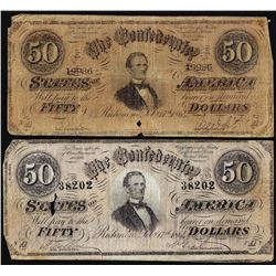 Lot of (2) 1864 $50 Confederate States of America Note