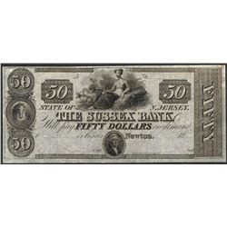 1800's $50 Sussex Bank New Jersey Obsolete Note