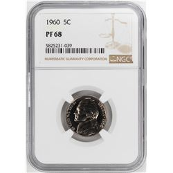 1960 Proof Jefferson Nickel Coin NGC PF68
