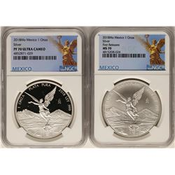 Set of 2018 Mexico 1 Onza Silver Libertad Coins NGC MS70 & PF70 Ultra Cameo