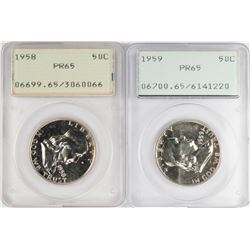 Lot of 1958-1959 Proof Franklin Half Dollar Coins PCGS PR65 Old Green Rattlers