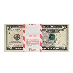Pack of (100) 2013 $5 Federal Reserve Star Notes