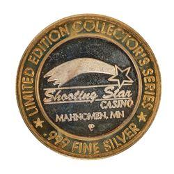 .999 Silver Shooting Star Casino Mahnomen, MN $10 Casino Limited Edition Gaming Token
