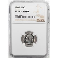 1964 Proof Roosevelt Dime Coin NGC PF68 Cameo