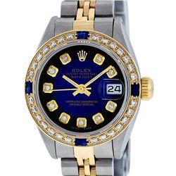 Rolex Ladies Two Tone Blue Vignette Diamond & Sapphire Datejust Wristwatch