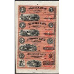 Uncut Sheet of 1800's $1/$1/$2/$3 Norfolk Bank, CT Obsolete Notes