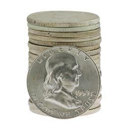 Roll of (20) Brilliant Uncirculated 1959-D Franklin Half Dollar Coins