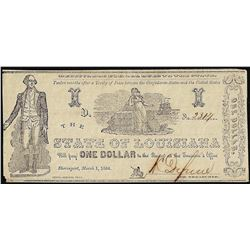 1864 $1 State of Louisiana Obsolete Note