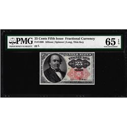 1874 25 Cents Fifth Issue Fractional Currency Note Fr.1308 PMG Gem Uncirculated 65EPQ