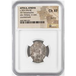 393-294 BC Attica Athens AR Tetradrachm Athena Owl Coin NGC CH XF