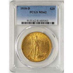 1910-D $20 St. Gaudens Double Eagle Gold Coin PCGS MS62