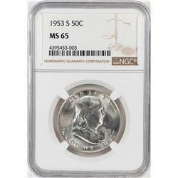 1953-S Franklin Half Dollar Coin NGC MS65
