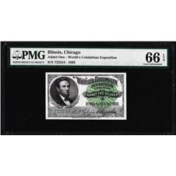 1893 World's Columbian Exposition Ticket Lincoln PMG Gem Uncirculated 66EPQ