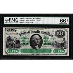 1872 $50 State of South Carolina Revenue Bond Obsolete Note PMG Gem Uncirculated 66EPQ