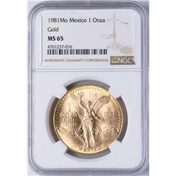 1981MO Mexico 1 Onza Libertad Gold Coin NGC MS65