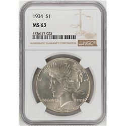 1934 $1 Peace Silver Dollar Coin NGC MS63