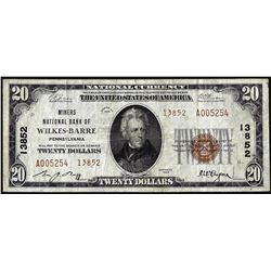 1929 $20 Miners NB Wilkes-Barre, PA CH# 13852 National Currency Note