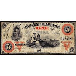 1860 $5 Miners and Planters Murphy, NC Obsolete Banknote