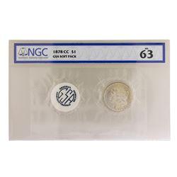 1878-CC $1 Morgan Silver Dollar Coin GSA Soft Pack NGC MS63