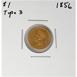 1856 Type 3 $1 Indian Princess Head Gold Coin