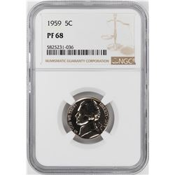 1959 Proof Jefferson Nickel Coin NGC PF68