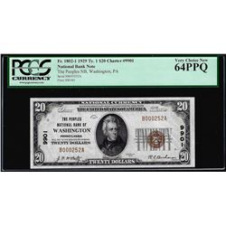 1929 $20 NB Washington, PA CH# 9901 National Currency Note PCGS Very Choice New 64PPQ