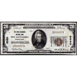 1929 $20 New Alexandria National Bank, PA CH# 6580 National Currency Note Low Serial
