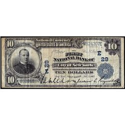 1902 PB $10 First National Bank City of New York, NY CH# 29 National Currency Note