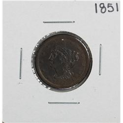 1851 Braided Hair Half Cent Coin