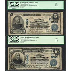Lot of 1902PB $5/10 Washington, PA CH# 3383 National Currency Notes PCGS Fine 12